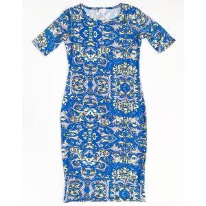 LuLaRoe Julia Blue & Yellow Bodycon Midi Dress S
